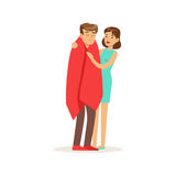 Woman helping a man wrapped in red a blanket, first aid vector Illustration. On a white background Stock Image