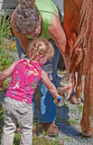 Woman Helps Toddler Clean Horse Shoe Stock Images