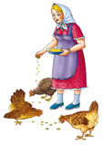 The woman with hens. The woman feeds with grain of hens Royalty Free Stock Photo