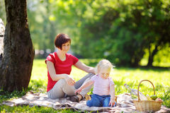 Woman and her adorable grandson having a picnic Stock Images