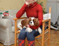 Woman and Her Adorable Pet Stock Image