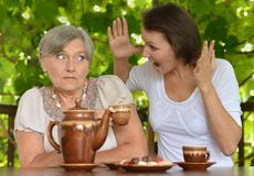Woman with her adult daughter Stock Image