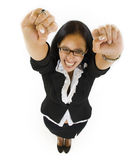 Woman with her arms in the air Stock Photo