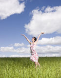 Woman with her arms raised Royalty Free Stock Photo