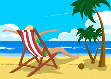 Woman with her arms wide open sitting in deck chair on the tropical beach with palm trees looking into the distance Royalty Free Stock Photos