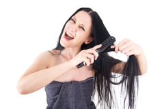Woman on her bad hair day Royalty Free Stock Image
