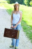 Woman with her baggage Stock Photo