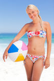 Woman with her ball Royalty Free Stock Photo