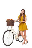 Woman with her bike Stock Photo
