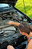 Woman with her broken down car Stock Image
