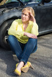 Woman and her car. stock photography