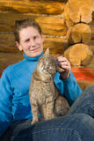 Woman with her cat Royalty Free Stock Photography