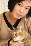 Woman with her cat Royalty Free Stock Image