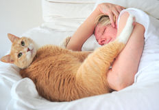 Woman and her cat Royalty Free Stock Photo