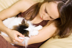 Woman with her cat Royalty Free Stock Photo