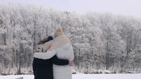 Woman with her daughter looking at the frost trees stock video footage