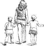 A woman with her daughters go for a stroll. Vector drawing of a mother with her kids going on a walk Royalty Free Stock Photo