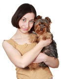 Woman and her dog Royalty Free Stock Images