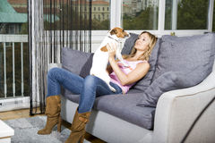 Woman and her dog Royalty Free Stock Photography