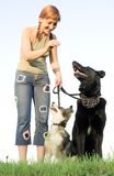Woman with her dog Stock Photo