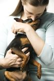 Woman with her dog. Stock Images