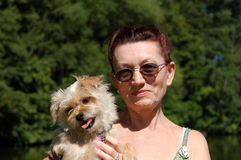 Woman and her dog Royalty Free Stock Photo