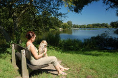 Woman with her dog Stock Photos