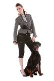 Woman and her dog. Beautiful woman on white background with her doberman pincher Royalty Free Stock Photo