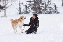 Woman and her dog akita play in park on snowy day. Winter concept royalty free stock images
