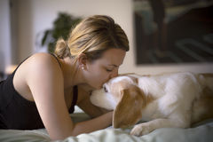 Woman with her dog in the bed at home. A woman with her dog in the bed at home Stock Images