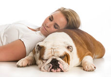 Woman and her dog Stock Photos