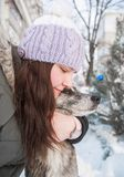 Woman with her dog outdoor. royalty free stock photography