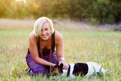 Woman and her dog Royalty Free Stock Photos