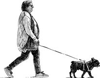 Woman and her dog. Vector image of a woman strolling with her pet vector illustration