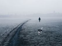 Woman and her dog walking in the fog royalty free stock images