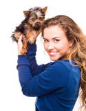 Woman and her dog on white Stock Photos