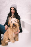 Woman and her dog Stock Photography