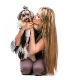 Woman with her dog Yorkshire Terrier Royalty Free Stock Photos