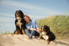 Woman with her dogs. Mature woman with her dogs on sand and grass sitting Stock Photo