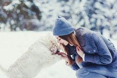 Woman and her faithful dog stock photos