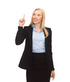 Woman with her finger up Royalty Free Stock Photography
