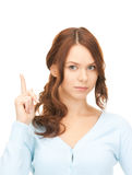 Woman with her finger up Stock Photography
