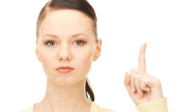 woman with her finger up Royalty Free Stock Images