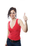 Thumbs up. Woman in her forties giving thumbs up Royalty Free Stock Photos