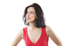 Woman in her forties. Pouting Stock Photography
