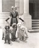 A woman and her four Afghan Hounds Royalty Free Stock Photography