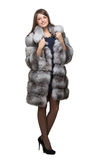 A woman in her fur coat Stock Photos