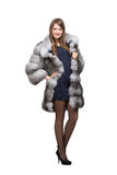 A woman in her fur coat Royalty Free Stock Image
