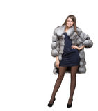 A woman in her fur coat Royalty Free Stock Photos
