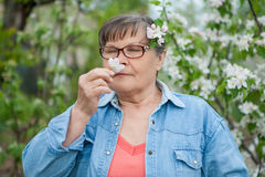 Woman  in her garden Stock Photography